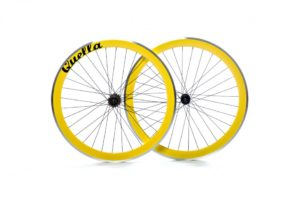 Yellow 40mm Deep-V 700c Wheelset with CNC Breaking Surface