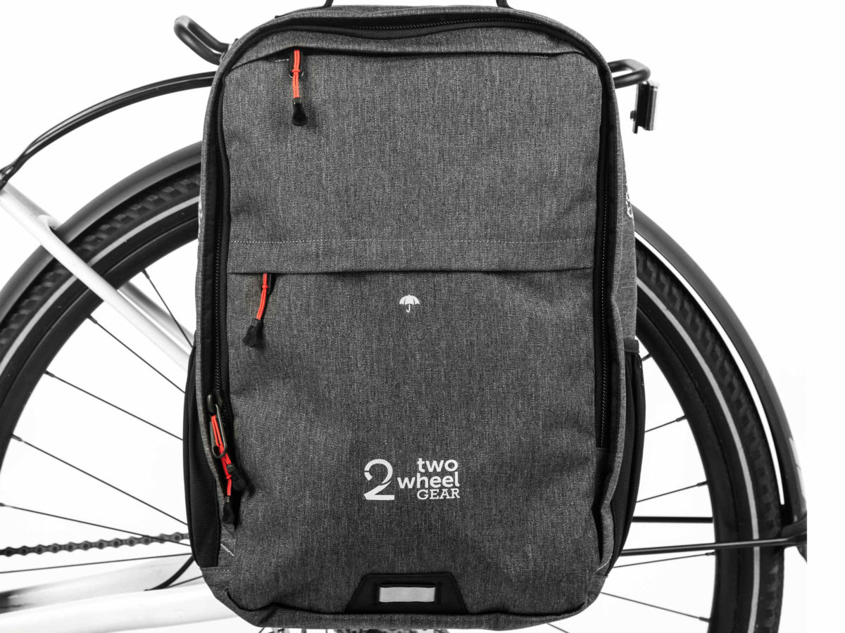 Two Wheel Gear – Pannier Backpack Convertible PLUS+ – Graphite – On Bike