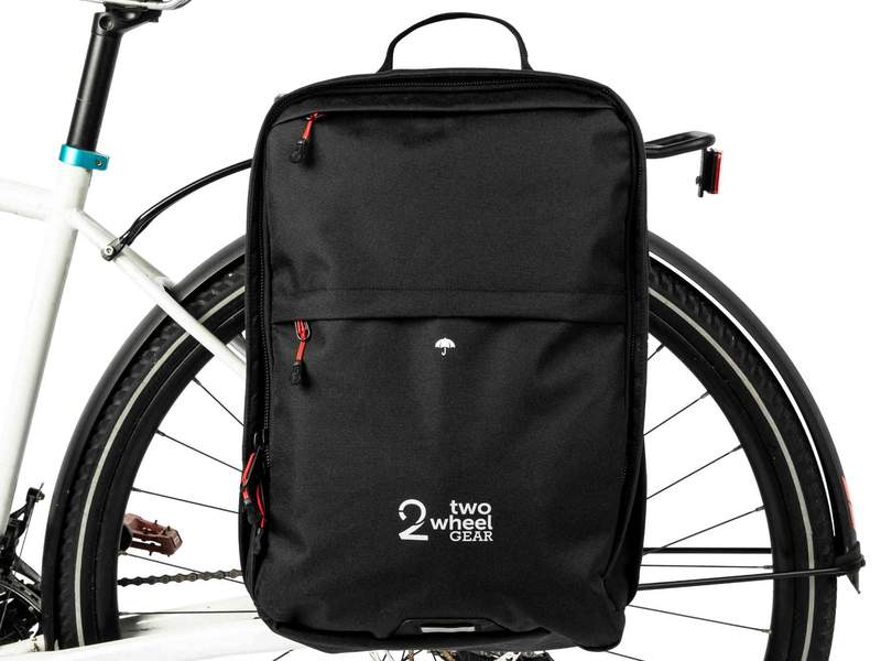 Two_Wheel_Gear_-_Pannier_Backpack_Convertible_PLUS_-_Black_-_On_Bike