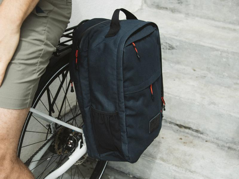Two_Wheel_Gear_-_Pannier_Backpack_PLUS_-_Waxed_Canvas_-_Blue_-_On_Bike