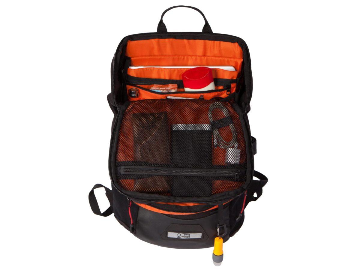 Two Wheel Gear – Bike Commute Backpack – Black – Open Packed