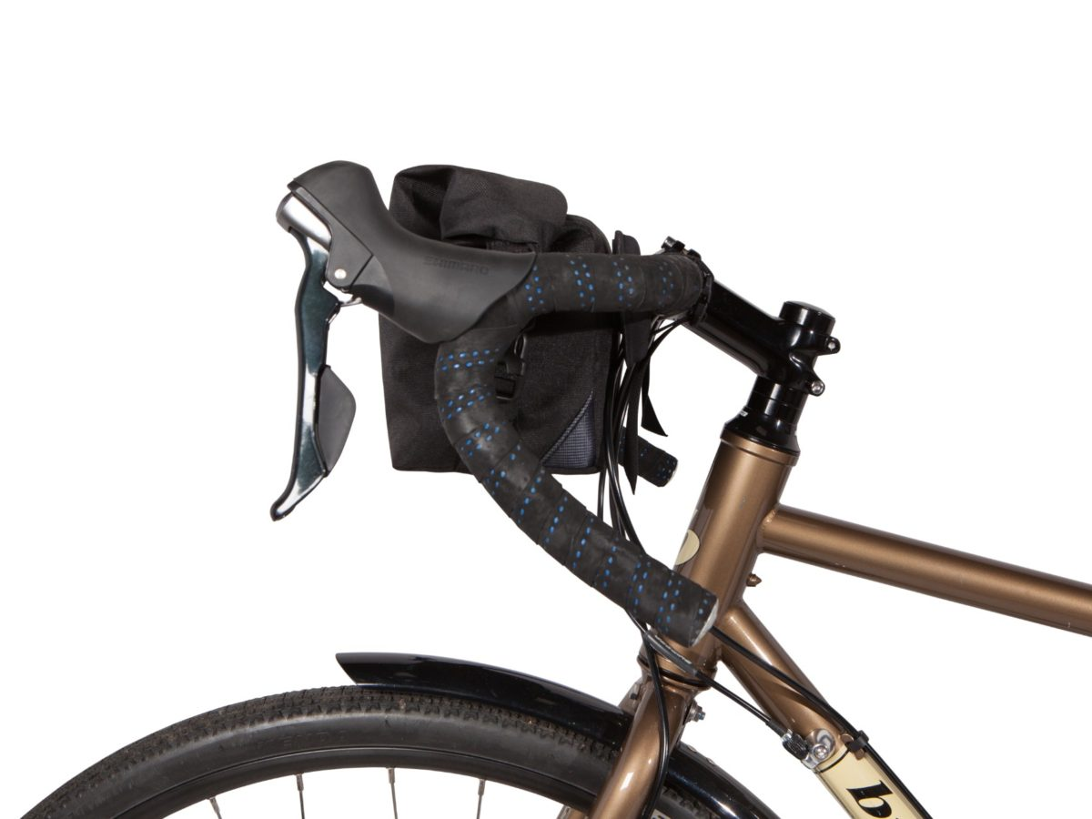Two Wheel Gear – Dayliner Mini Handlebar Bag – Black – Side on Bike